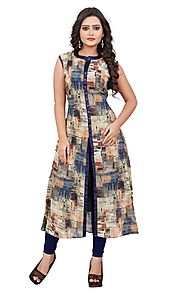 Multi Printed Georgette Stitched Kurti Online for 1649 Rs.@ FleAffair
