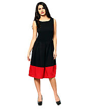 Black Colored Color Solid Skater Dress Semi Stitched Online for 799.00 Rs.@ FleAffair