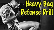 Kickboxing heavy bag drills for defense