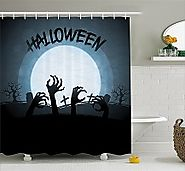 Spooky Halloween Haunted Graveyard Bathroom Shower Curtains • Holiday Décor – Season Charm