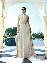 Off White & Beige Embroidered Georgette Anarkali Suit
