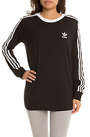 adidas Tee 3 Stripes LS Black