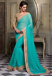 Sea Blue Color Chiffon Designer Saree