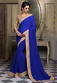 Purple Color Chiffon Designer Saree