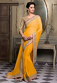 Yellow Color Chiffon Designer Saree