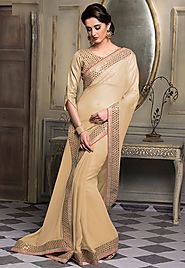 Beige Color Chiffon Designer Saree