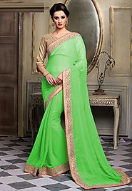 Green Color Chiffon Designer Saree