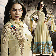 Striking Cream Embroidered Georgette Long Anarkali Dress