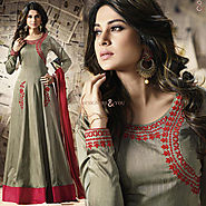 Prepossessing Green Embroidered Silk Anarkali Salwar Kameez