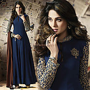 Comely Blue Embroidered Georgette Anarkali Churidar Design