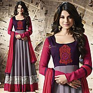 Nice Grey And Purple Embroidered Georgette Anarkali Salwar Suit