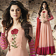 Divine Peach Embroidered Georgette And Silk Floral Anarkali Suit