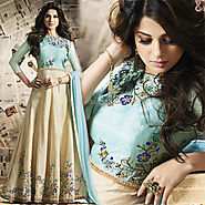 Exquisite Cream And Sky Blue Embroidered Silk Floral Anarkalis Dress