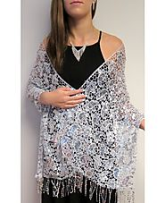 Evening Shawls Gorgeous Silver Crochet at YoursElegantly
