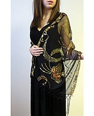 Classy And Affordable Black & Gold Stunning Evening Wrap at YoursElegantly