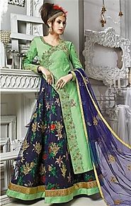 Exquisite Green And Blue Embroidered Silk Indo Western Outfit For Fashionistas
