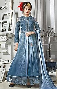 Artistic Blue Embroidered Silk Indo Western Dress For Fashionables