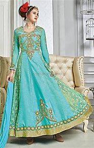 Divine Blue Embroidered Silk Indian Anarkali For Ladies