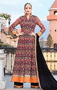 Pretty Multicolor Boutique Style Georgette Indo Western Evening Dress For Reception