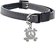 Dogit Leather Style Adjustable Dog Collar with Buckle and Pewter Skull Charm, 9-14-Inch, Gray