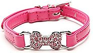 BingPet BA2016 Leather Dog Puppy Collar with Cute Bling Bone or Heart Charm 3/8 inch Width