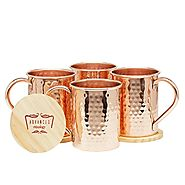 Moscow Mule Copper Mugs Set of 4 - 16 Ounce with 4 Artisan Hand Crafted Wooden Coasters (Classic) by Advanced Mixology