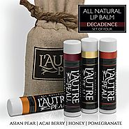 All Natural Luxury Lip Balm by L'AUTRE PEAU | Acai Berry, Asian Pear, Honey & Pomegranate Flavors - Special 4 Pack Gi...