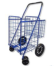 Wellmax Folding Shopping Cart with Double Basket and Swivel Wheels Blue - Best Heavy Duty Stuff