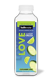 hellowater - A Natural Essence Water (Cucumber Lime - LOVE) -- High Fiber - Zero Sugar - Zero Net Carbs - Low Glycemi...