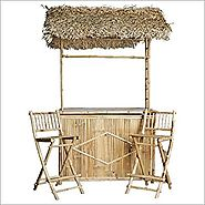 Bamboo Bar with Thatched Roof and Two Bar Stools Set