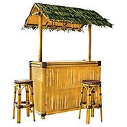 Design Toscano Thatch-Roofed Tiki Bar with 2 Stools