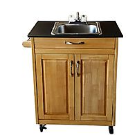 Single Basin Portable Sink – Wood Cabinet Model PSW-009S