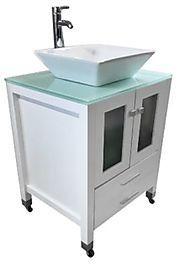 White Cabinet Portable Sink with Ceramic Vessel And Drawers Model: PSE-010WW