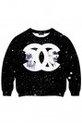 ROMWE | Intellectual Double C Black Galaxy Printed Sweatshirt, The Latest Street Fashion
