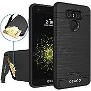 LG G6 Case, OEAGO LG G6 Case [Card Slot] [Brushed Texture] Heavy Duty Hybrid Dual Layer Wallet Case Cover Shell with ...