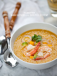 Mango Gazpacho with Quick Pickled Shrimp