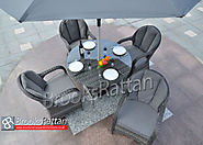 Serena Regal 4 Seat 120cm Round Dining Set in Grey Rattan