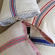 Ticking Lined Grain Sack Pillow
