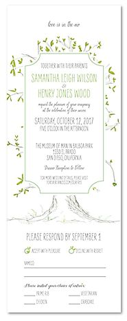 Send n Sealed Wedding invitations on 100% Recycled Paper - Our Tree by ForeverFiances
