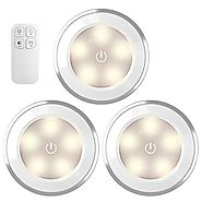 AMIR Wireless LED Puck Light With Remote Control , Under Cabinet Lighting , Closet Night Light, Touch Switch Energy S...