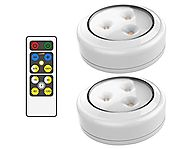 Brilliant Evolution BRRC134 Wireless LED Puck Light 2 Pack With Remote Control - Operates On 3 AA Batteries - Kitchen...