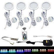Aiboo RGB LED Under Cabinet Lighting Kit 4 Pack Color Changing Puck Lights with Wireless RF Remote Control for Kitche...