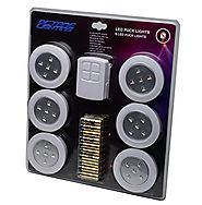 "Home 4"" Kitchen Closet Under Cabinet LED Wireless Puck Lighting Lites Lights w/ Remote & Batteries - (6 Pack) By Octa..."