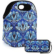 "Lunch Bag Extra Large Insulated Lunch Box 13.5"" x 13.5"" x 7.5"" Zipper Tote Bags With Wallte Pouch 6.5""L x 3.5H"" Set (..."