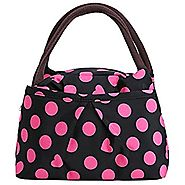 Pink Dots on Black Print Style Women Handbags Lunch Bag Tote