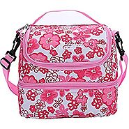Double Decker Insulated Lunch Box Pink Soft Cooler Bag Thermal Lunch Tote with Shoulder Strap (Pink Flower)