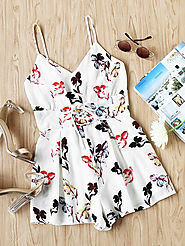 Cami Straps Lace Up Corset Floral Playsuit $21 @ SheIn