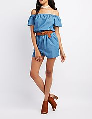 Chambray Off-The-Shoulder Romper $24.99 @ Charlotte Russe