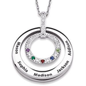 Diamond Necklace with Grandkids Names and Birthstones
