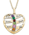 Heart Shaped Necklace with Grandkids Names and Birthstones